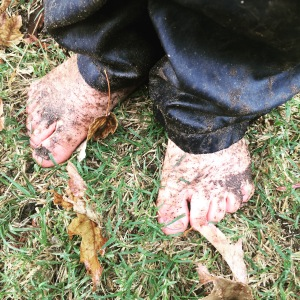 Muddy toes celebrating rain in Central California