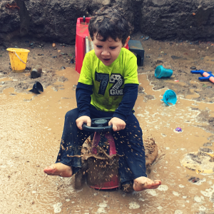 Children can create there own excitement with a little mud and a lot of ingenuity