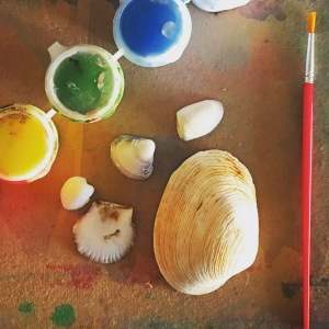 Painted Sea Shell Provocation for Christmas ornaments