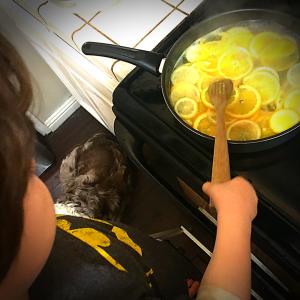 Kids in kitchen candied oranges