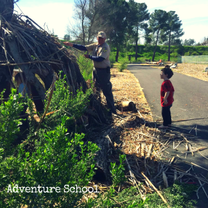 Adventure School fort building with the department of fish and game