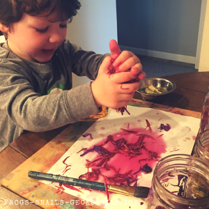 Messy play with flower petal water colors