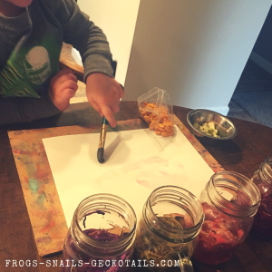 Painting with flower petal water Colors