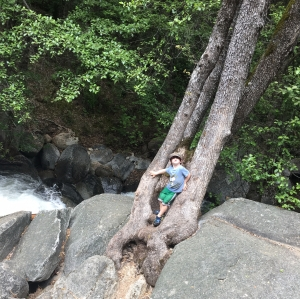 Raising a Wild Child Takes Nerves of steel when they hang over a waterfall